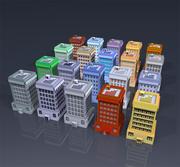 20 buildings textured 3d model