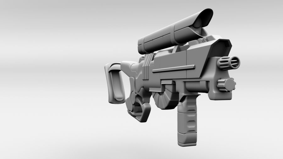 Sci-Fi Rifle(1) royalty-free 3d model - Preview no. 2