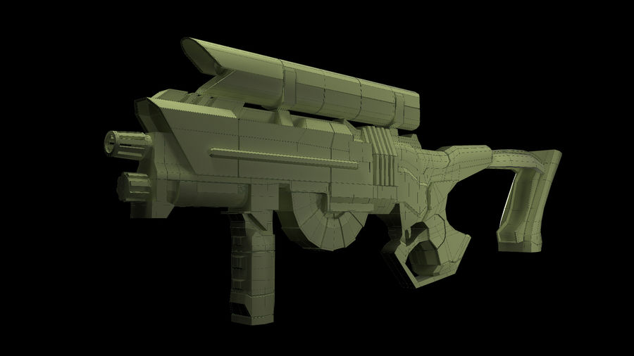 Sci-Fi Rifle(1) royalty-free 3d model - Preview no. 6
