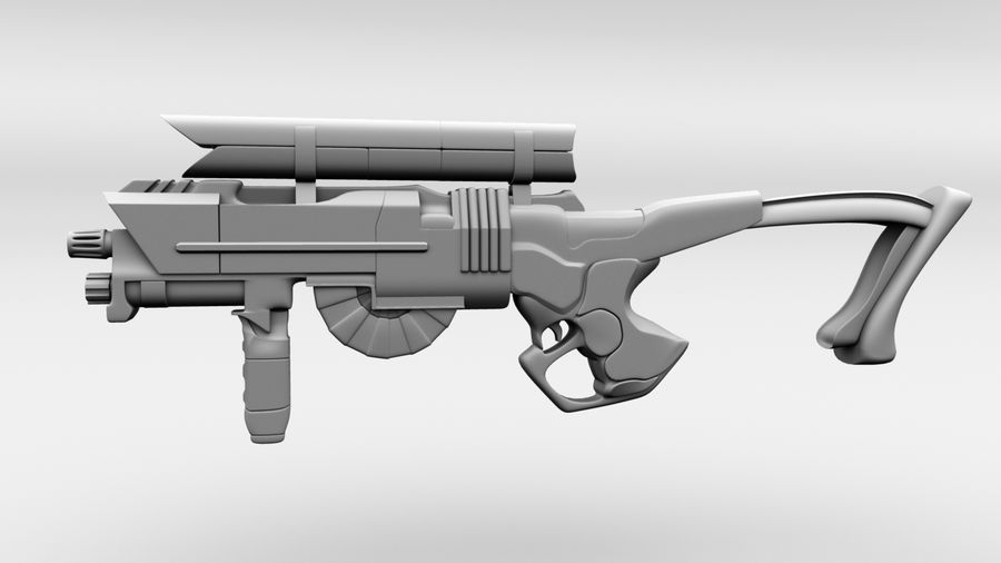 Sci-Fi Rifle(1) royalty-free 3d model - Preview no. 1