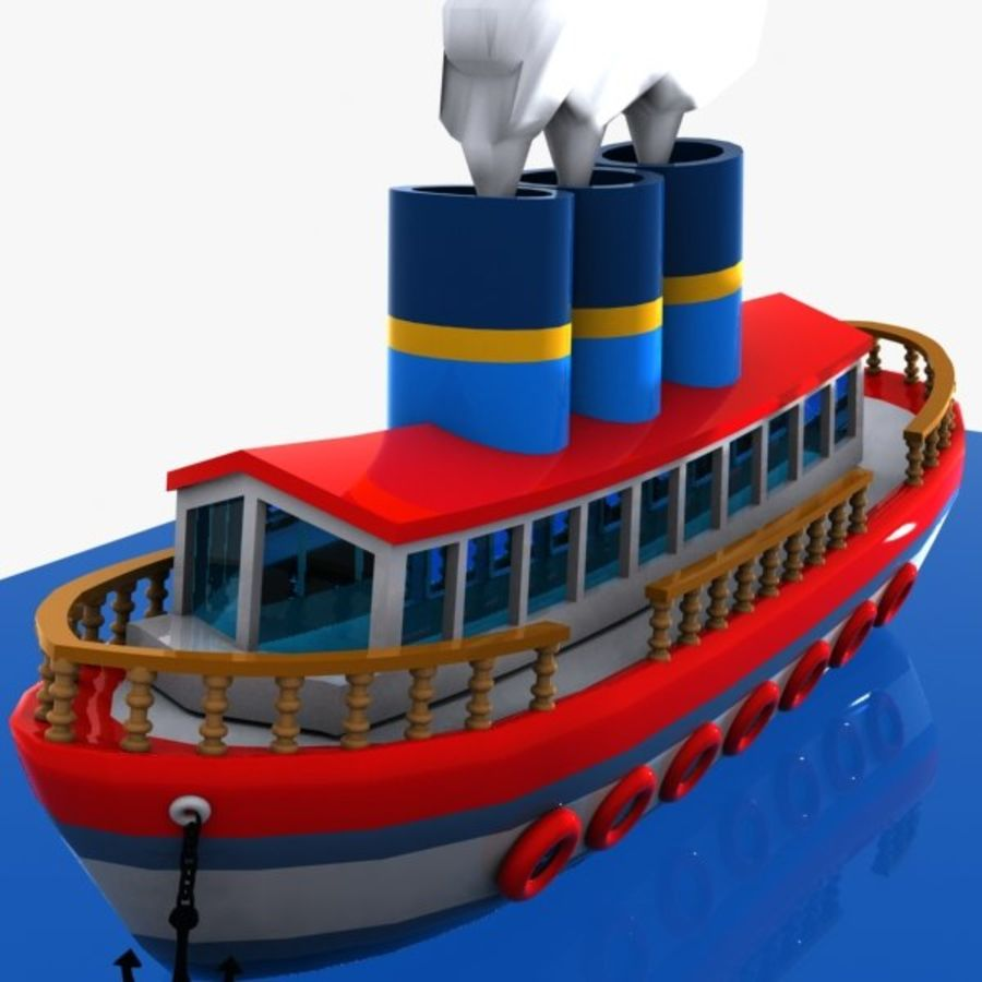 Cartoon Ship royalty-free 3d model - Preview no. 3