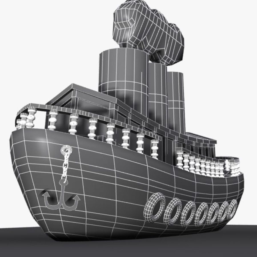 Cartoon Ship royalty-free 3d model - Preview no. 8
