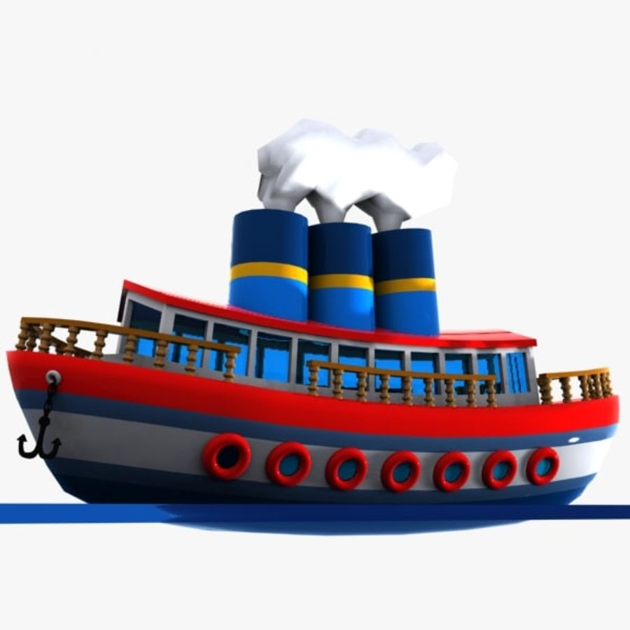 Cartoon Ship royalty-free 3d model - Preview no. 4