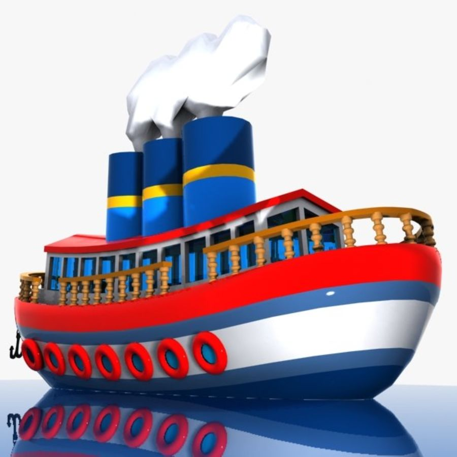 Cartoon Ship royalty-free 3d model - Preview no. 6