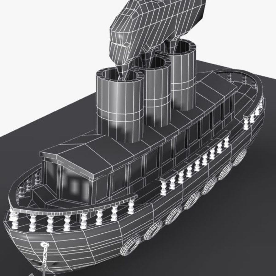Cartoon Ship royalty-free 3d model - Preview no. 9