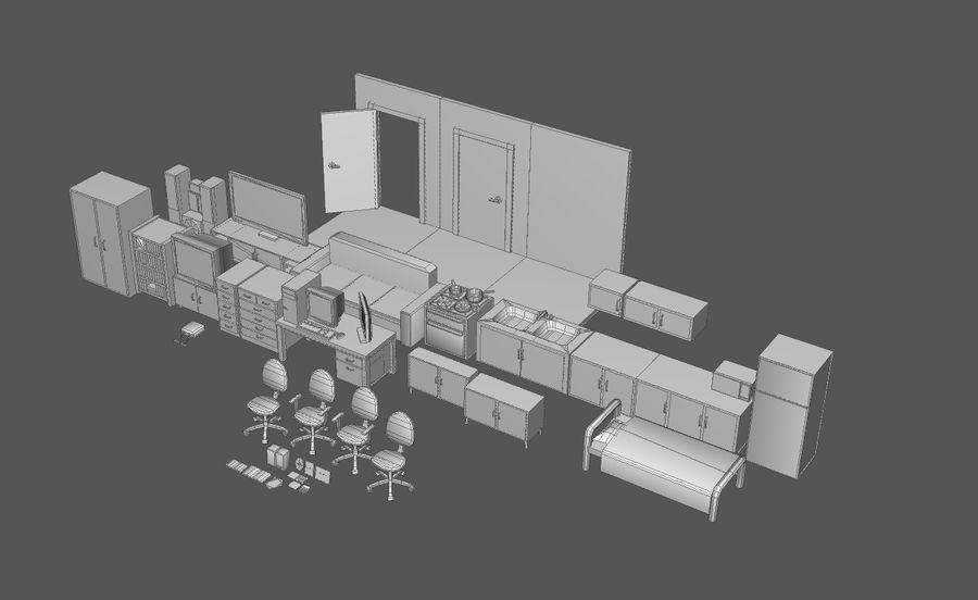 Комплект предметов интерьера дома (База) royalty-free 3d model - Preview no. 1
