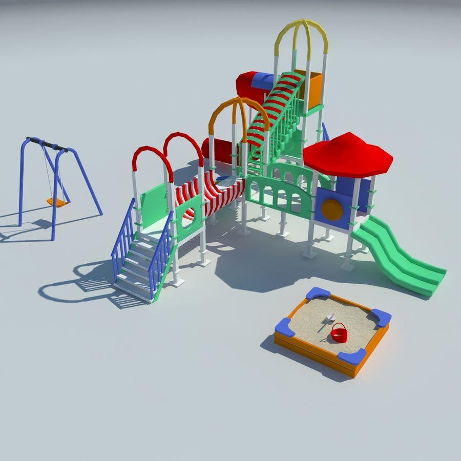 Speeltuin zandbak laag poly royalty-free 3d model - Preview no. 2