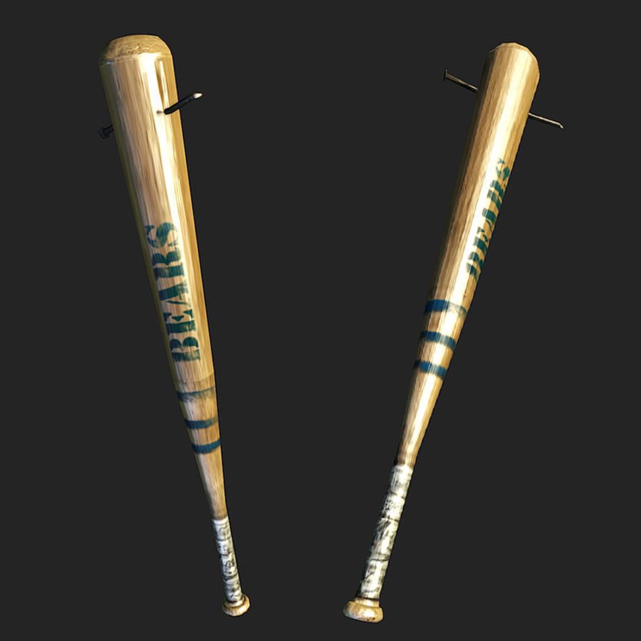 baseball bat with nail royalty-free 3d model - Preview no. 2