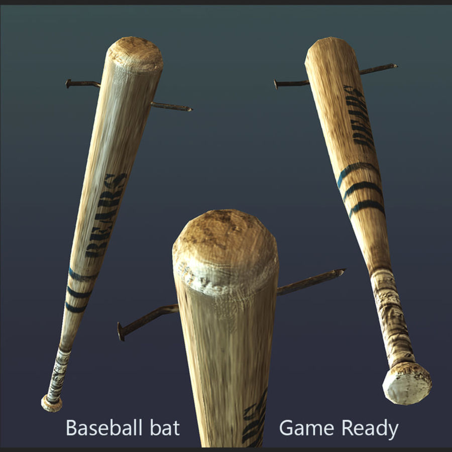 baseball bat with nail royalty-free 3d model - Preview no. 1