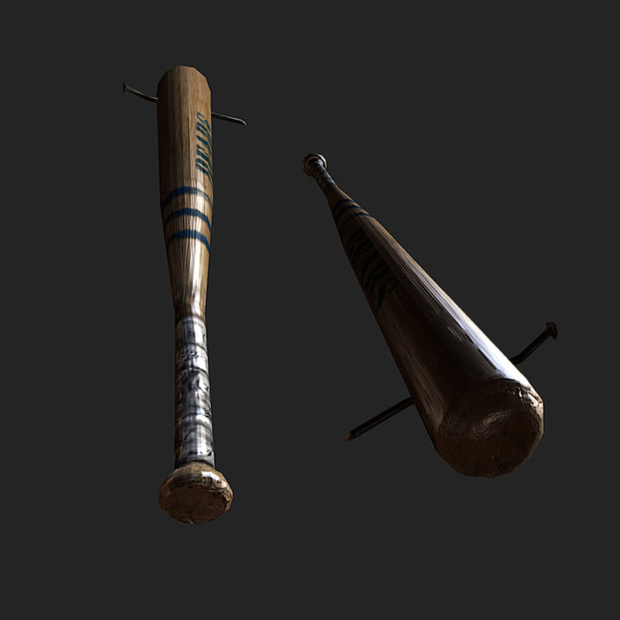 baseball bat with nail royalty-free 3d model - Preview no. 3