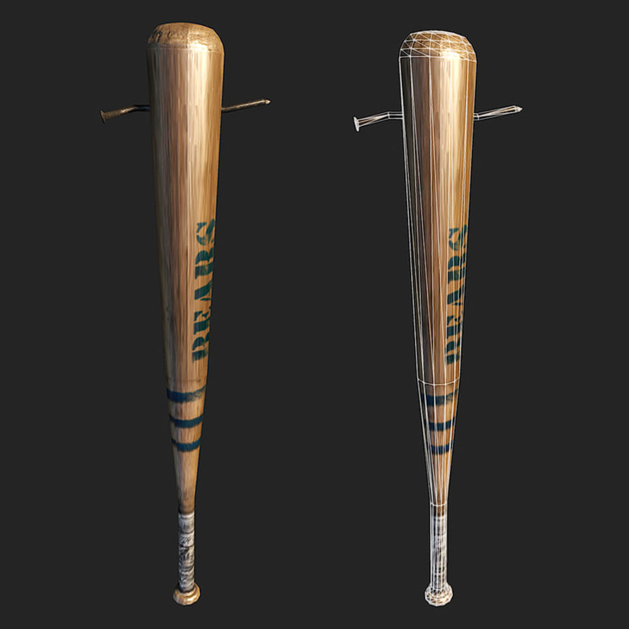 baseball bat with nail royalty-free 3d model - Preview no. 4
