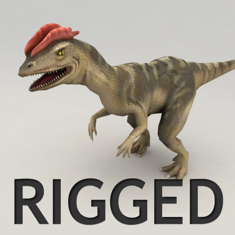 Dilophosaurus rigged royalty-free 3d model - Preview no. 1