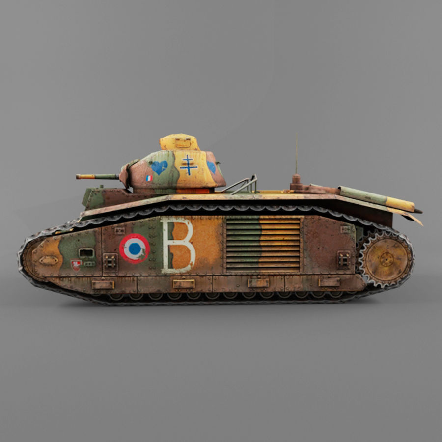 B1 heavy tank royalty-free 3d model - Preview no. 2