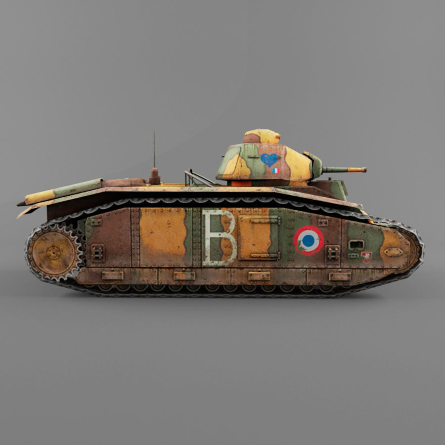 B1 heavy tank royalty-free 3d model - Preview no. 5