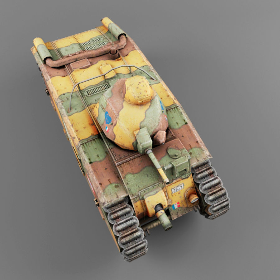 B1 heavy tank royalty-free 3d model - Preview no. 8