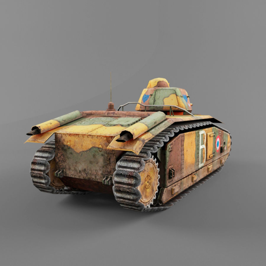 B1 heavy tank royalty-free 3d model - Preview no. 4