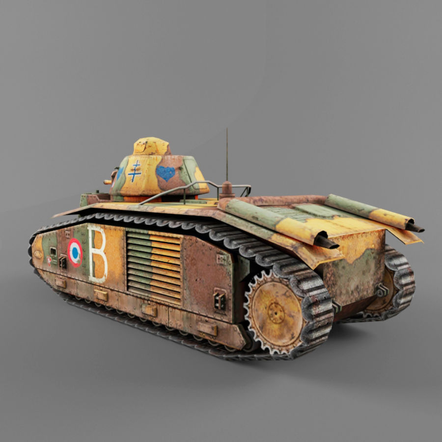 B1 heavy tank royalty-free 3d model - Preview no. 3