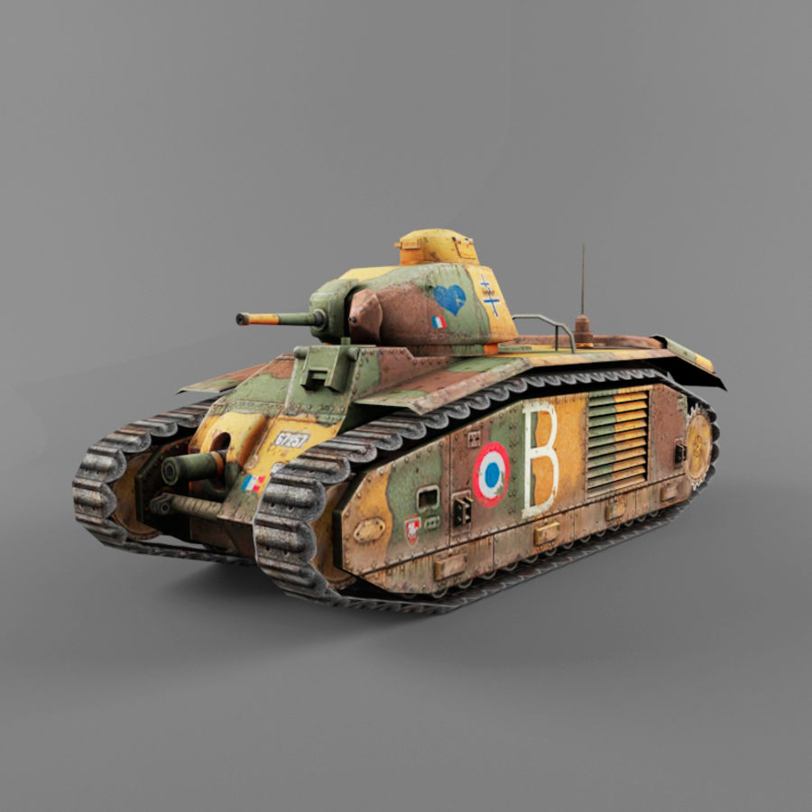 B1 heavy tank royalty-free 3d model - Preview no. 1