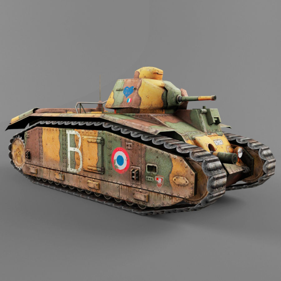 B1 heavy tank royalty-free 3d model - Preview no. 6