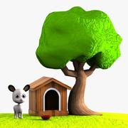Cartoon Dog, Doghouse and Tree 3d model