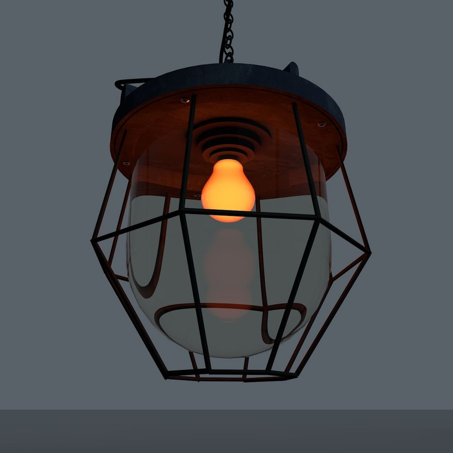 Industrial Lamp royalty-free 3d model - Preview no. 7