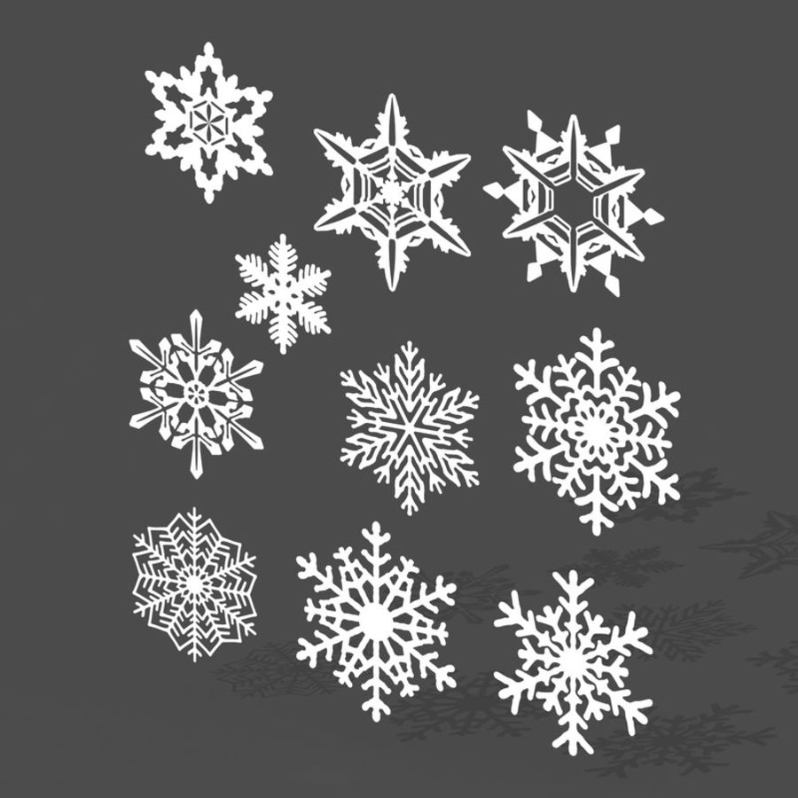 10 flocos de neve royalty-free 3d model - Preview no. 3