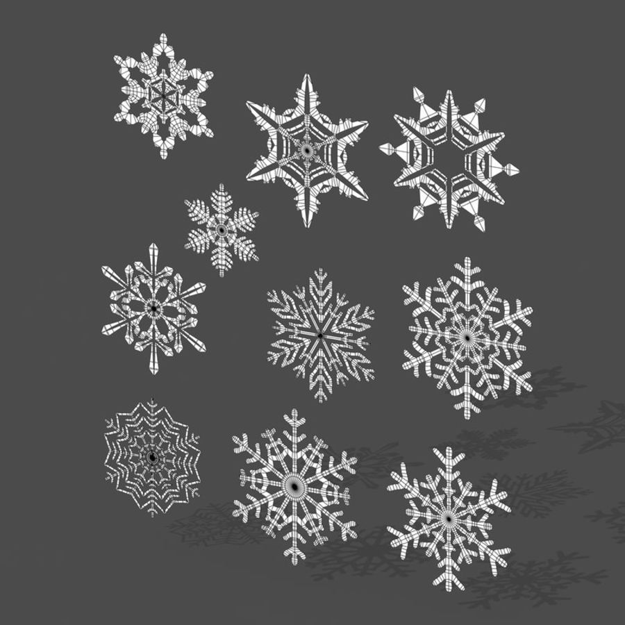 10 flocos de neve royalty-free 3d model - Preview no. 8