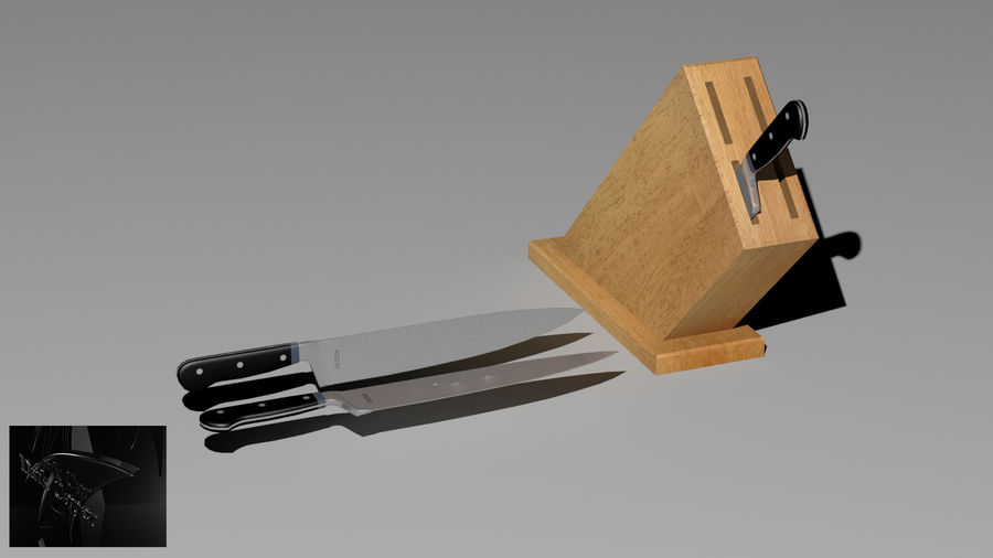 knife and holder royalty-free 3d model - Preview no. 1
