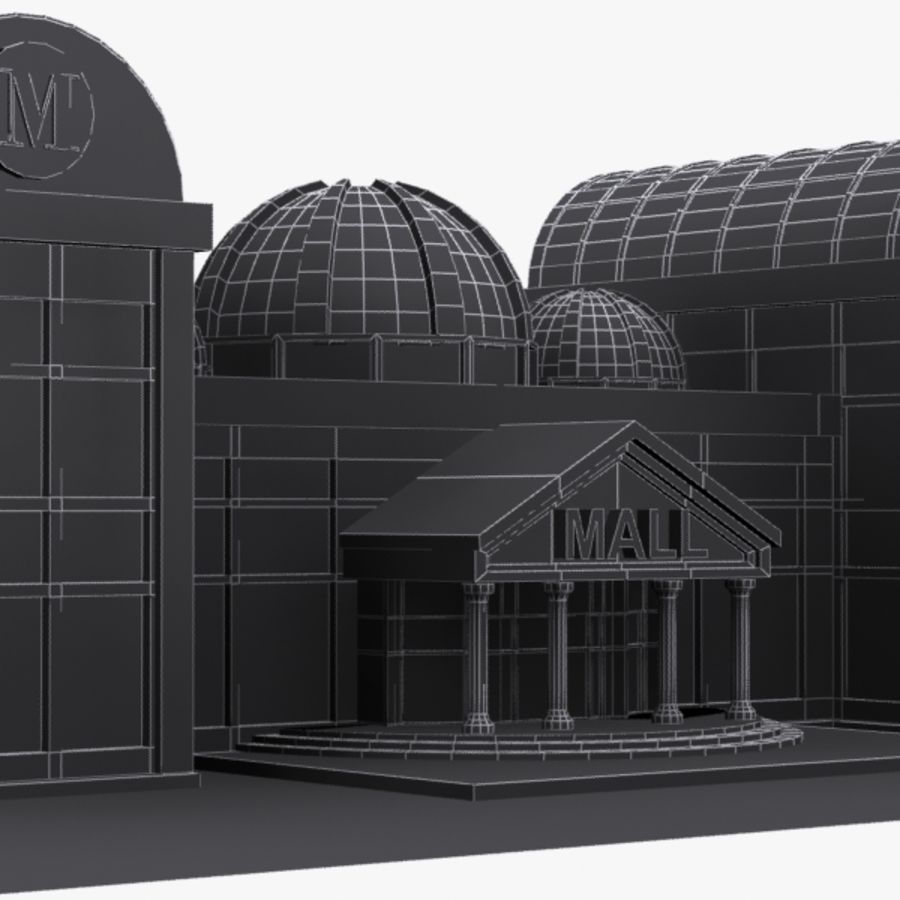 Cartoon Shopping Mall royalty-free 3d model - Preview no. 7