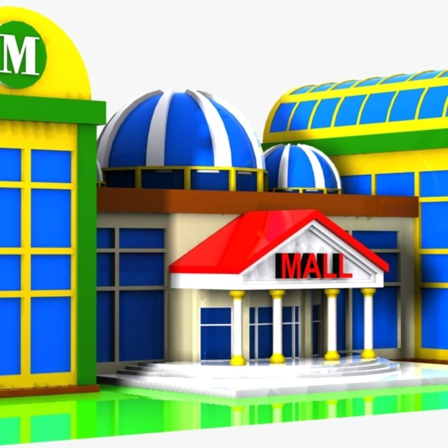 Cartoon Shopping Mall royalty-free 3d model - Preview no. 6