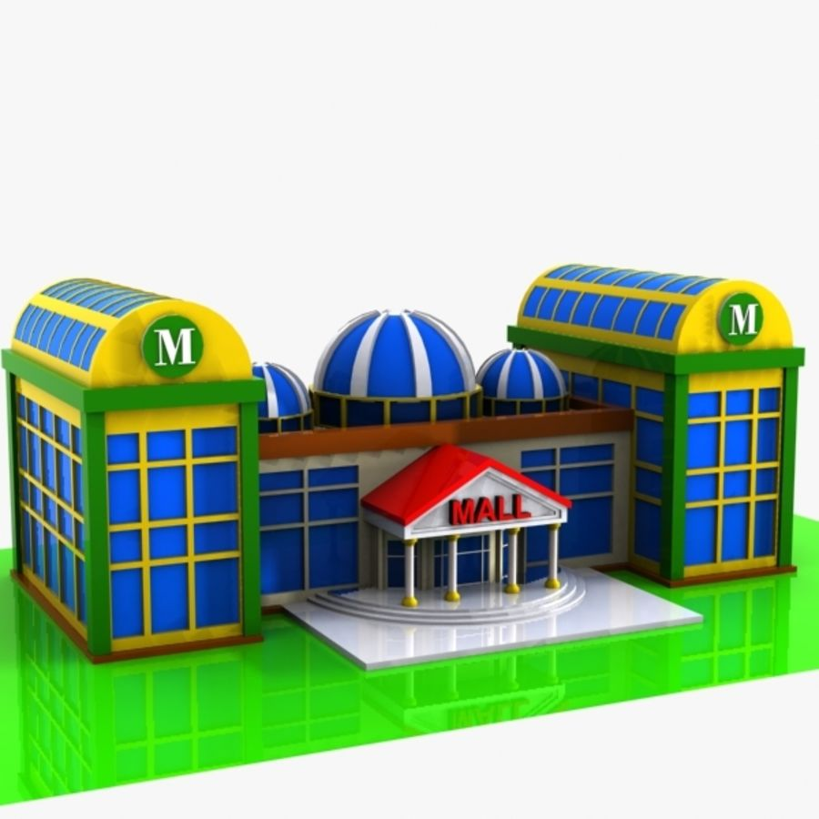 Cartoon Shopping Mall royalty-free 3d model - Preview no. 3