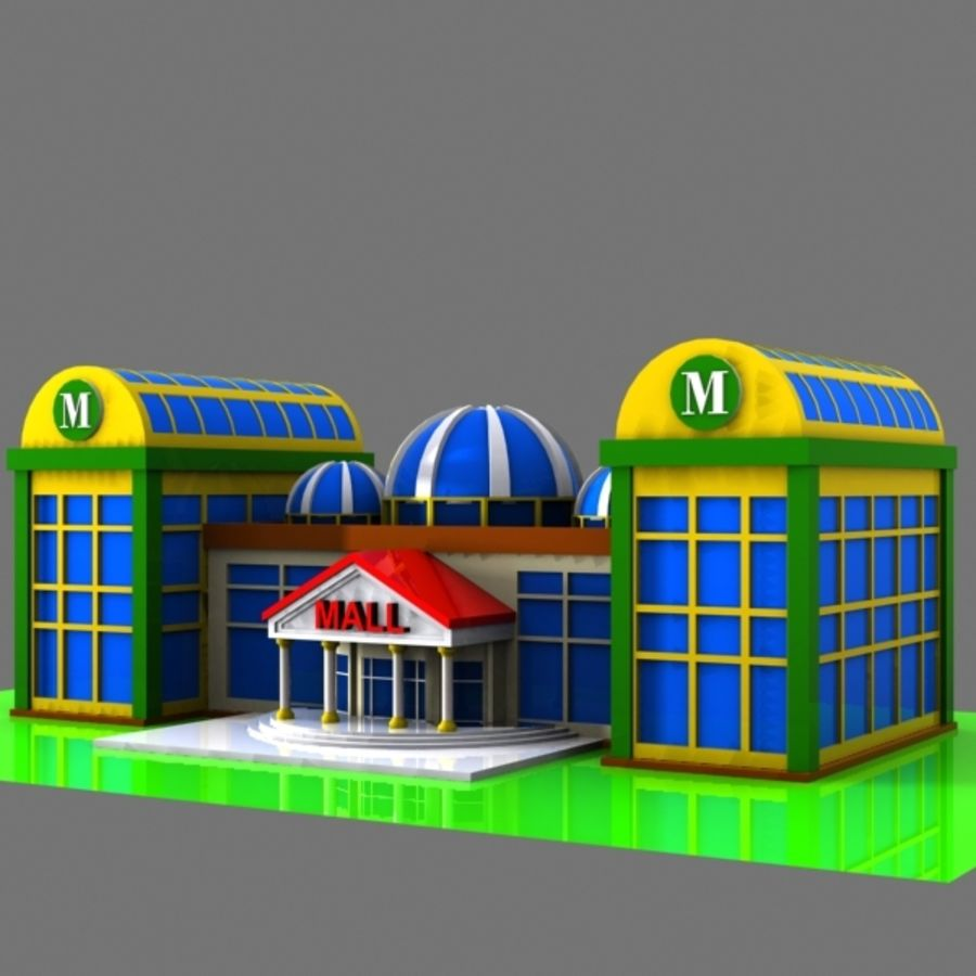 Cartoon Shopping Mall royalty-free 3d model - Preview no. 2
