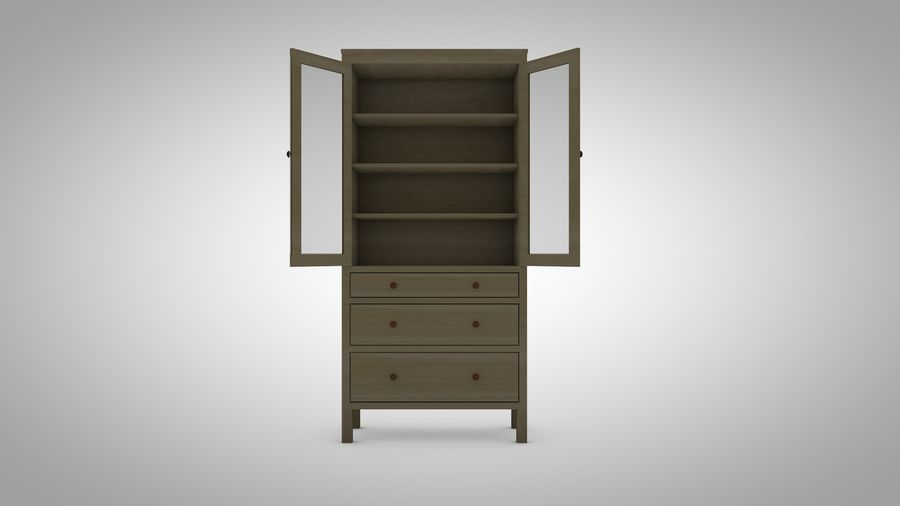 Hemnes Cabinet royalty-free 3d model - Preview no. 3