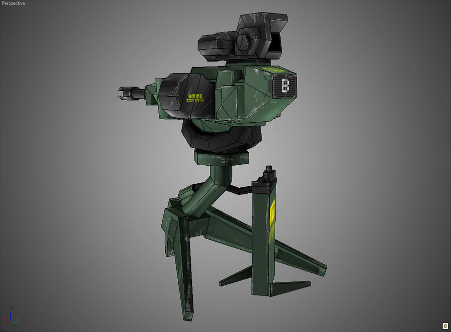 Sentry Turret royalty-free 3d model - Preview no. 11