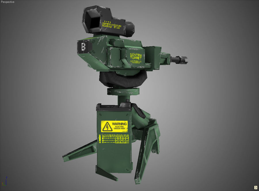 Sentry Turret royalty-free 3d model - Preview no. 1