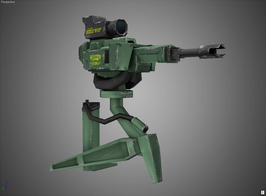 Sentry Turret royalty-free 3d model - Preview no. 3