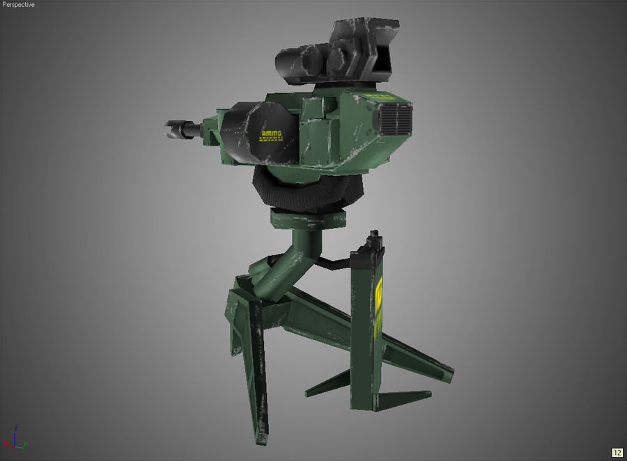 Sentry Turret royalty-free 3d model - Preview no. 6