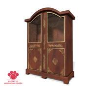 Antique Wooden Bookcase 3d model