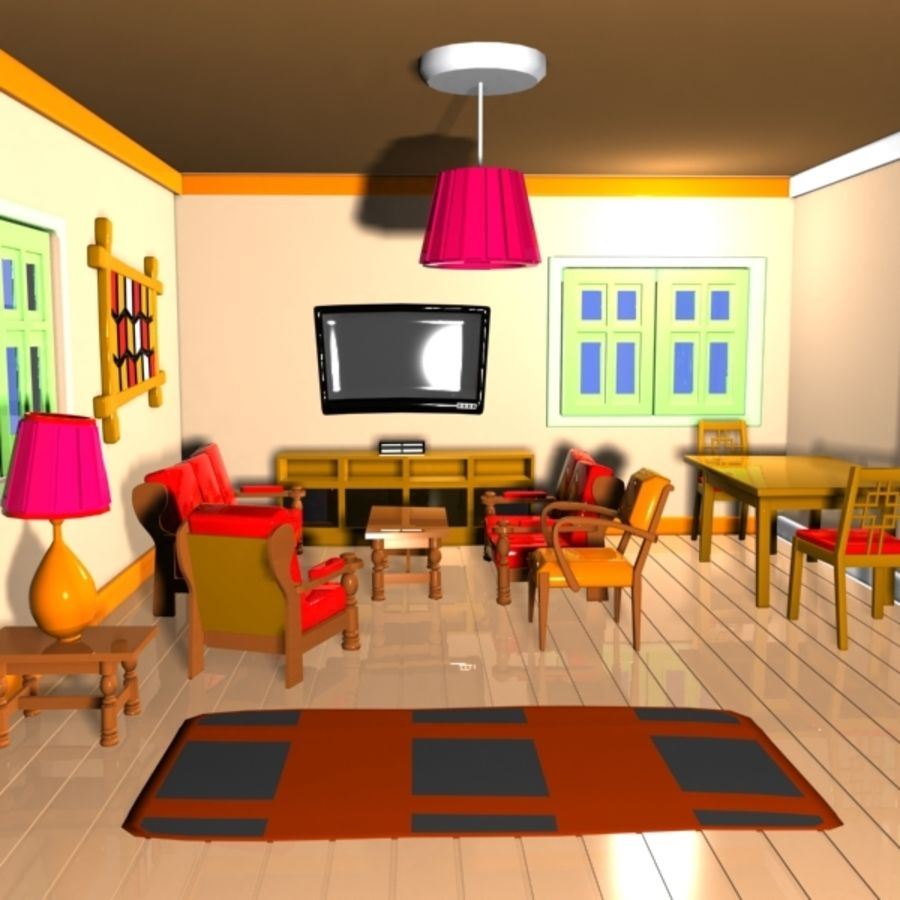 Cartoon Tv Living Room D Model