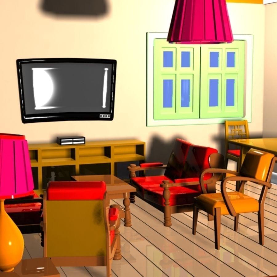 Cartoon Dining Room: Cartoon Living Room Interior 3D Model $15