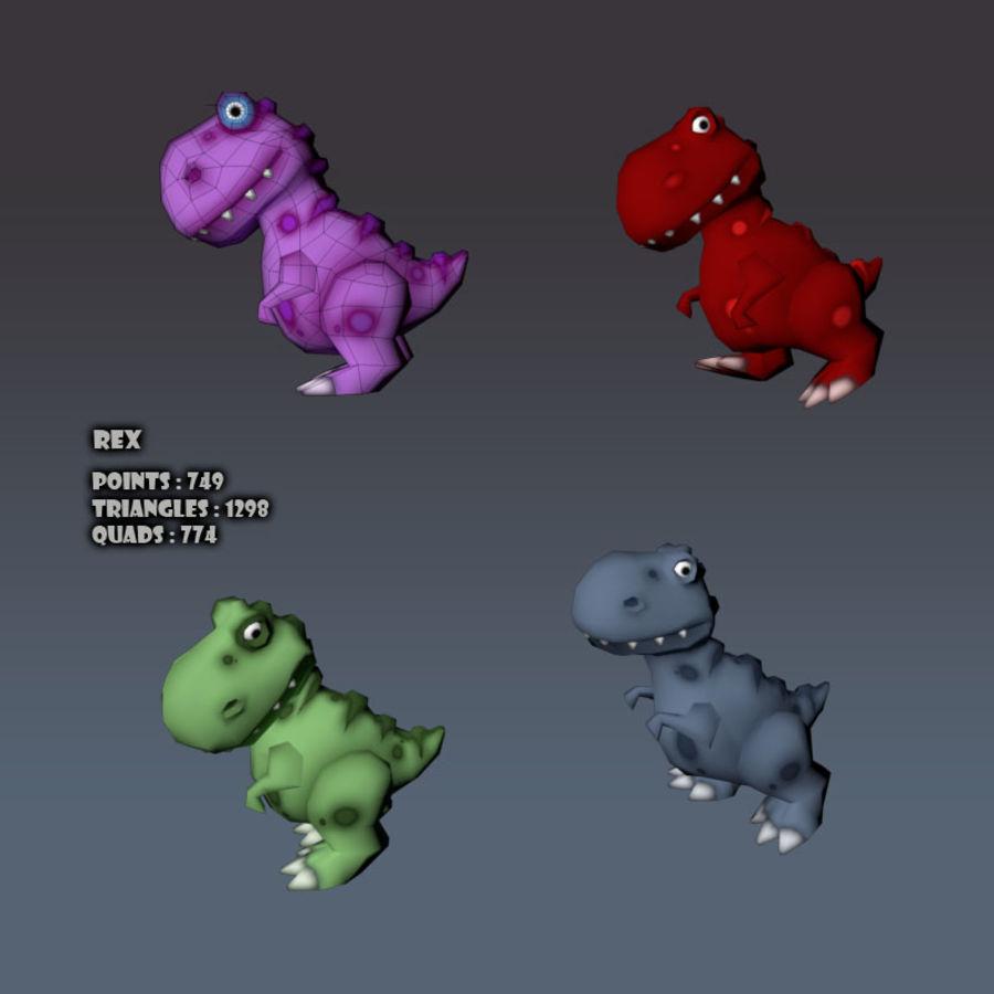 Cartoon dinosaur T.rex royalty-free 3d model - Preview no. 8