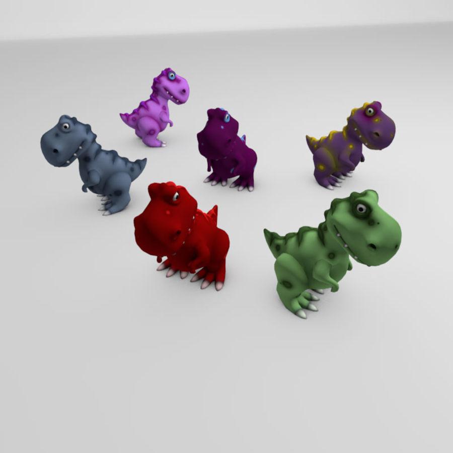 Cartoon dinosaur T.rex royalty-free 3d model - Preview no. 7