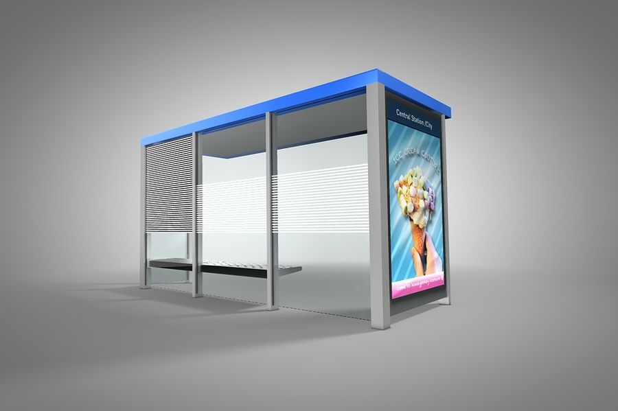 Bus stop royalty-free 3d model - Preview no. 3