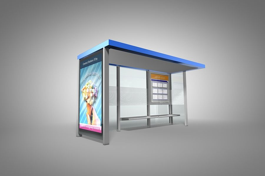 Bus stop royalty-free 3d model - Preview no. 2