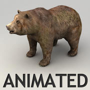 Animated lowpoly grizzly bear 3d model