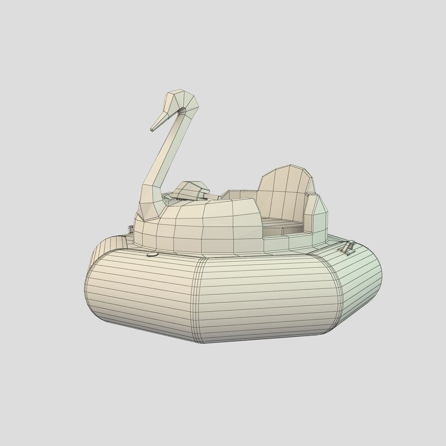 Лодка-лебедь royalty-free 3d model - Preview no. 7