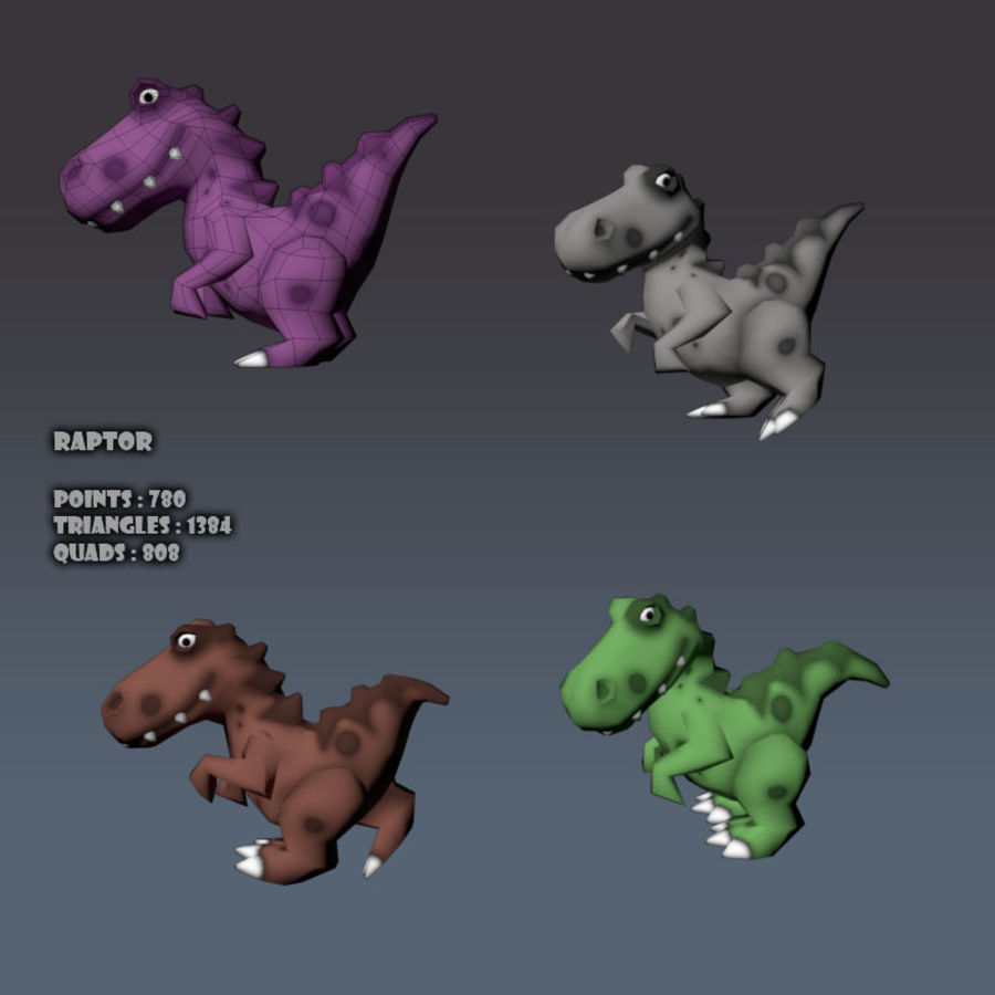 Cartoon dinosaur Velociraptor royalty-free 3d model - Preview no. 8