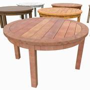 庭の木の板テーブル田舎の白いペンキ塗装中庭裏庭住宅ダイニング家 3d model