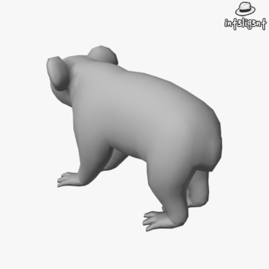 Låg Poly Koala royalty-free 3d model - Preview no. 3