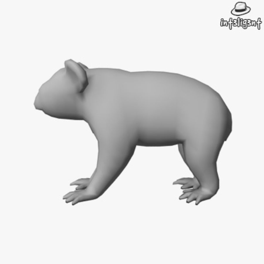 Låg Poly Koala royalty-free 3d model - Preview no. 2